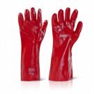 Handschoen PVC rood enkel gedipt cat.1 270mm, 12paar