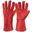 Lashandschoenen WELDER rood spitleder 35cm, 12paar