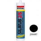 Siliconenkit SOUDAL silirub-2 310ml zwart, 15stuks